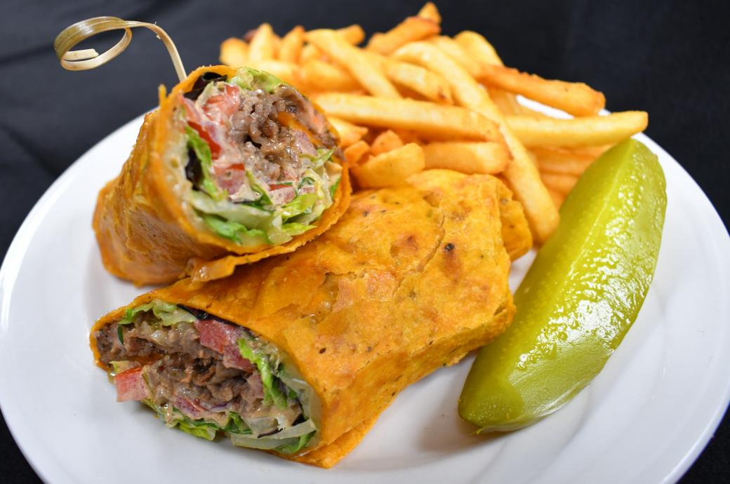 Spicy prime rib chicken wrap